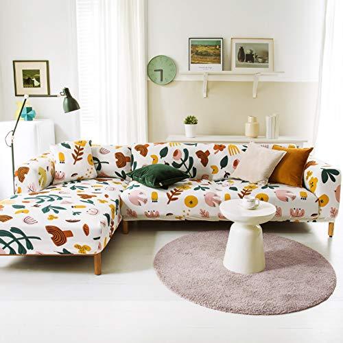 Modelo Diseñada Impreso Mueble Funda Sofa Ajustables,Fundas para Sofa Elasticidad L-Forma La Funda para Sofa,Suave Antideslizante Funda Sofa Ajustables para Salon Perros-Pattern-20 145-185cm(57-73')