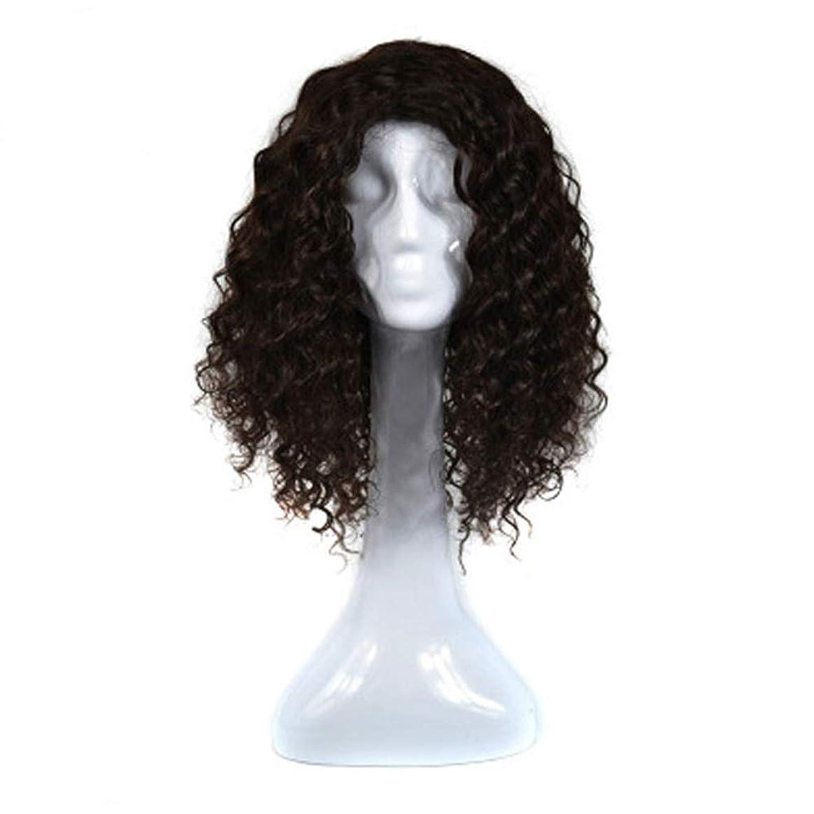 ナラーバー電気陽性思い出すYrattary 女性の本物の人間の髪の毛の波状の髪の毛延長 - 4#茶色がかった黒い合成髪のレースのかつらロールプレイングかつらロングとショートの女性自然 (色 : 黒)