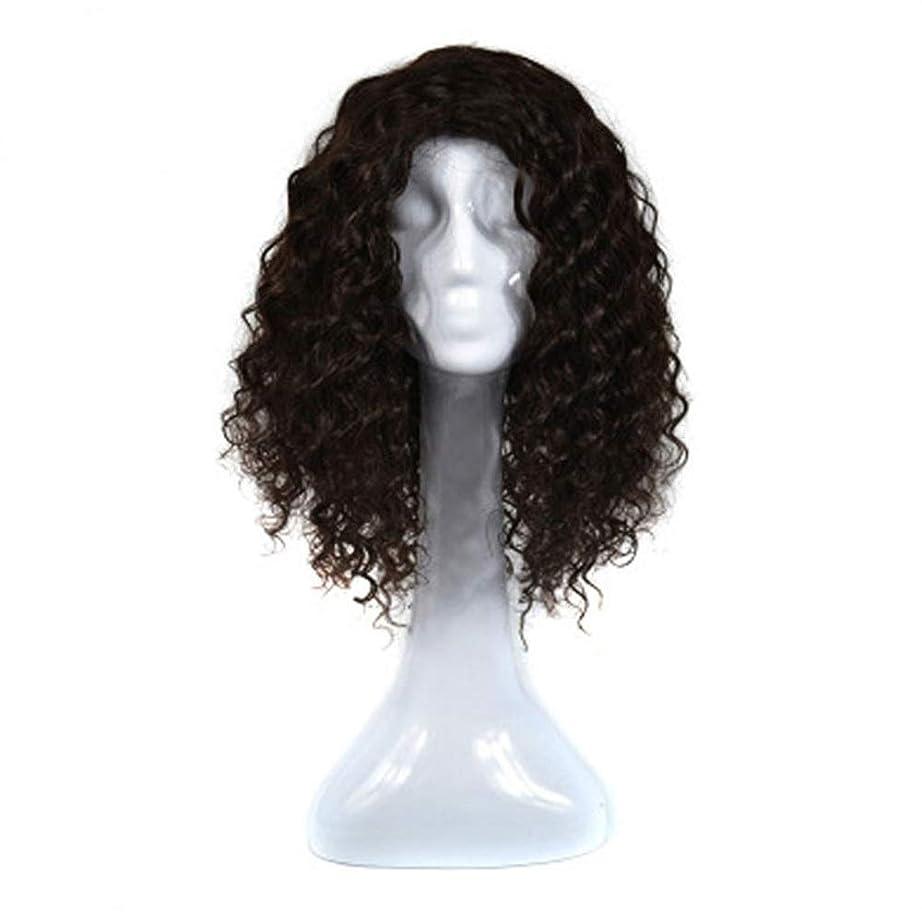 バンク好み奇跡的なYrattary 女性の本物の人間の髪の毛の波状の髪の毛延長 - 4#茶色がかった黒い合成髪のレースのかつらロールプレイングかつらロングとショートの女性自然 (色 : 黒)
