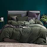 ECOCOTT 3 Pieces Duvet Cover Set Queen 100% Washed Cotton 1 Duvet Cover with Zipper and 2 Pillowcases, Ultra Soft and Easy Care Breathable Cozy Simple Style Bedding Set (Avocado Green)