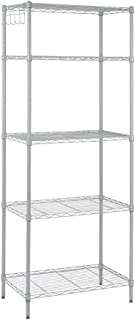 Rackaphile 5-Tier Classic Wire Storage Rack Organizer Kitchen Shelving Unit, Silver Grey