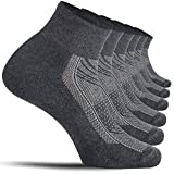 CelerSport Running Ankle Socks for Men Women(6 Pairs)- Sport Athletic Socks with Cushion, Seamless Toe (Dark Gray, Large)