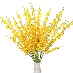Artificial Orchids Flowers, 10 pcs Silk Fake Dancing Lady Orchids Flowers, Orquideas Flowers Artificial for Wedding Home Office Party Yard Decoration Restaurant Patio Festive Furnishing(Yellow)