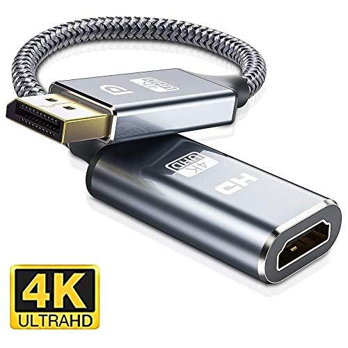 4K DisplayPort auf HDMI Adapter-DP zu HDMI Adapter Unterstützung (3840x2160@30Hz) Nylon geflochten DisplayPort auf HDMI Konverter kompatibel mitHP, HDTV, ThinkPad, Monitor, Projektor, Desktop-Grau