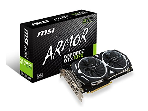 MSI 8GB NVIDIA GeForce GTX 1070 Armor OC GDDR5 DVI/HDMI/3DisplayPort PCI-Express Video Card Model GEFORCE GTX 1070 Armor 8G OC