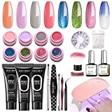 Poly Nail Gel Kit with 6W LED Lamp, Modelones 8...