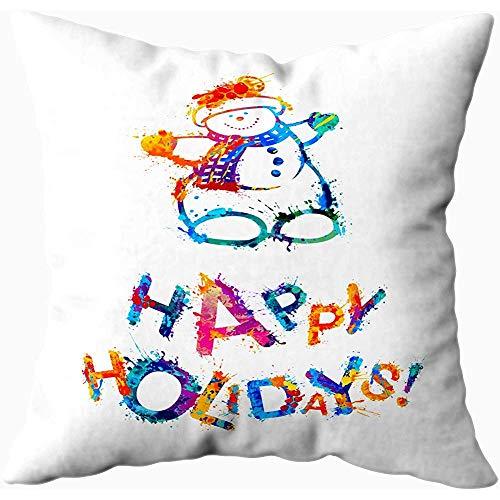 2PC 18X18,Kissenbezüge,16 X 16 Zoll Frohe Feiertage Karte Schneemann Splash Paint Sofa Kissenbezüge,Throw Pillow Covers,Lila Grün