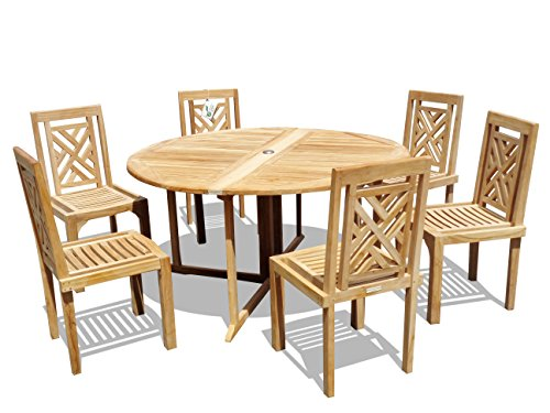 """Windsor's Genuine Grade A Teak, Barcelona 59"""" Round Drop Leaf Table W/ 6 Chippendale Stacking Chairs w Comfortable Contoured seat, World's Best Outdoor Furniture, Teak Lasts A Lifetime! Assembled"""