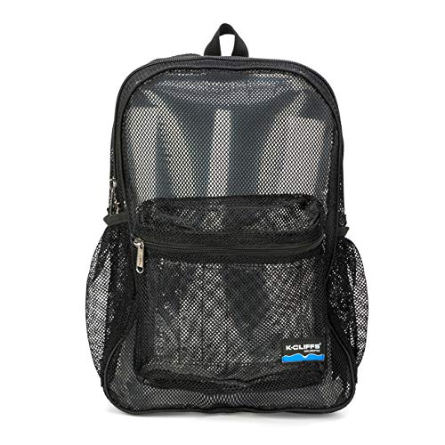 Heavy Duty Classic Gym Student Mesh See Through Netting Backpack | Padded Straps | Black