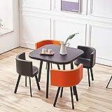 Wandun-Stools Essgruppe mit 4 Stühlen Esstisch Schreibtisch Rückenlehne Esstisch Sitzfläche Tisch- und Stuhlset aus Kunststoff Wohnzimmer 5-teiliges Set: 1x Tisch + 4X Stuhl (Color : E)