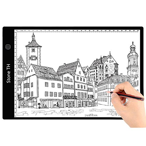 Stone TH Tablette Lumineuse A4, Ultra-Mince Portable Table Lumineuse LED pour Dessin, Esquisser, Animation, Broderie Diamant (A4 Pro)