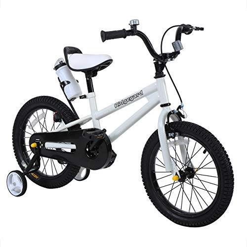 Yonntech Kinderfahrrad 16 Zoll mit Rücktritt Stützräder für Jungen Mädchen ab 3 4 5 6 7 Jahre Auto ausbalancieren (Weiß)