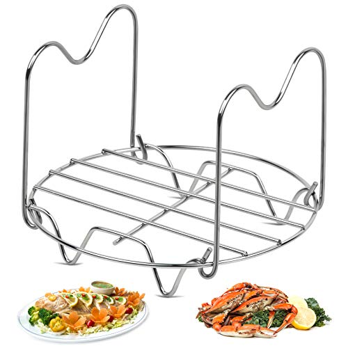 Steamer Rack Trivet, Stainless Steel Round Cooking Rack with Heat Resistant Handles Compatible with Instant Pot Accessories, Pressure Cooker Steam Rack for Easy Food & Pot Removal