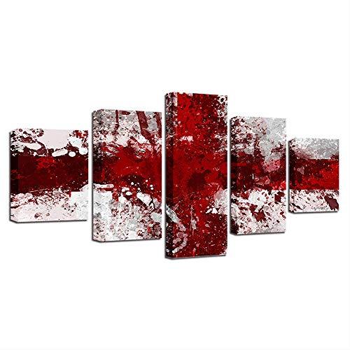 IWINO Gedrukt Modulair Afbeelding Groot Canvas 5 Panel Rood Wit Nationale Vlag Framework Schilderen Voor Woonkamer Thuis Muurdecoratie Maat 3 Zonder Frame