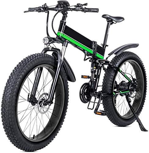 Bicicleta eléctrica de nieve, 26 Bicicleta eléctrica plegable con la montaña 48v 12ah extraíble de iones de litio 1000w motor de bicicleta eléctrica E-bici con pantalla LCD y la batería de litio extra