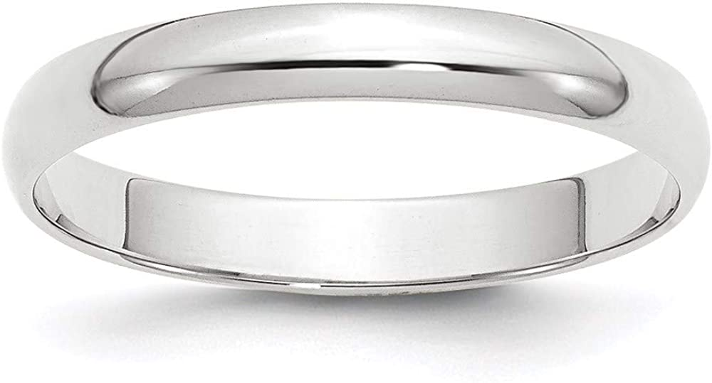10 White Gold 3mm Half Round Wedding Ring Band Size Classic Fashion Jewelry For Women Gifts For Her