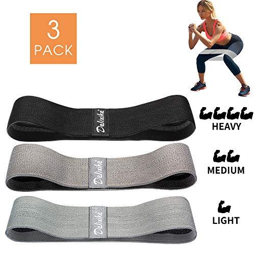 Delixike Sport Booty Banda de resistencia, bucles de ejercicio premium con 3 niveles, tela antideslizante resistente para hacer glúteos y ejercicios de cadera, fitness y entrenamiento, yoga, pilates