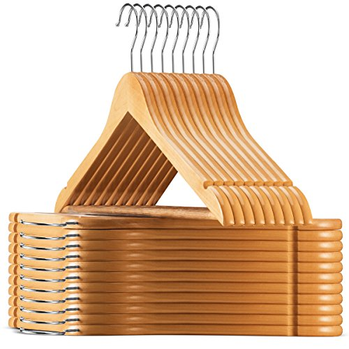 High-Grade Wooden Suit Hangers 20 Pack - Smooth Finish Solid Wood Coat Hanger with Non Slip Pants Bar 360° Swivel Hook and Precisely Cut Notches for Camisole Jacket Pant Dress Clothes Hangers