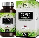 OPC-Traubenkernextrakt, hochdosierte Kapseln - 600 mg, 90 vegane Tabletten, OPC-Gehalt: 70 % pro Kapsel, mit Vitamin C, Focus Supplements, Stärkt das Immunsystem, Ohne GVO, glutenfrei, milchfrei