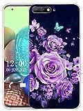 Sunrive Funda Compatible con Huawei Honor 7A/Y6 2018, Sunrive Silicona Slim Fit Gel Transparente Carcasa Case Bumper de Impactos y Anti-Arañazos Espalda Cover(X Mariposas y Rosas)