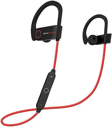 DIGIZULU ブルートゥース ヘッドフォン ワイヤレス スポーツ イヤホン マイク付き 耳掛け式 インナーイヤー IPX7 防水 ランニング ジョギング サイクリング 運動 用 レッド