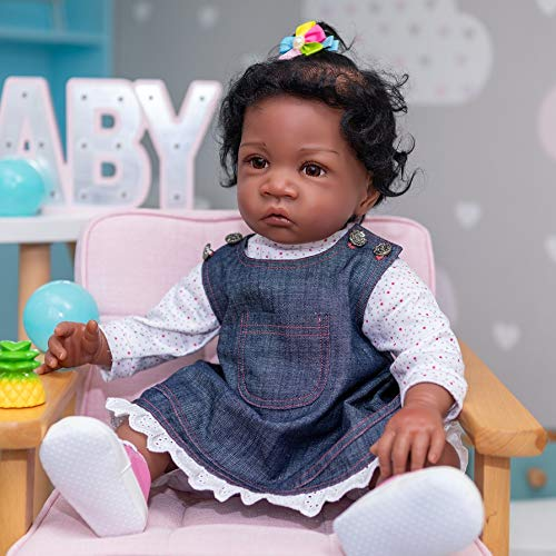 Pinky Reborn 24inch 60cm Simulation Baby Play Dolls Lifelike Silicone Dolls African American Black Weighted Reborn Baby Dolls Soft Toy Kids