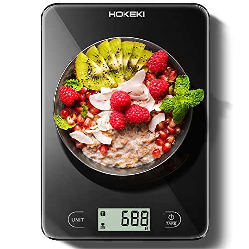 Food Scale, HOKEKI Digital Kitchen Scale Electronic Scale Weight Grams and Ounces with LCD Display & Waterproof Glass Surface for Cooking Baking, Battery Include (Black)