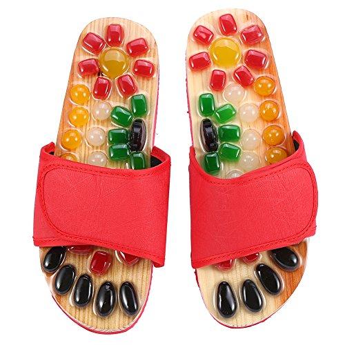 Zapatillas de masaje de pies de 5 tamaños para activar la sangre y relajar los pies, zapatos de masaje de piedra de guijarro para el cuidado de los pies (39-rojo)