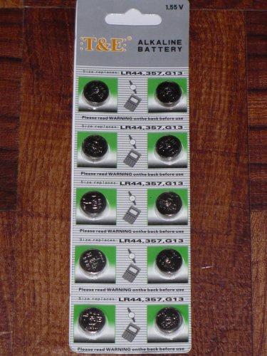 10-pack LR44 1.55v Alkaline Button Cell Battery (Replaces: LR44, CR44, SR44, 357, SR44W, AG13, G13, A76, A-76, PX76, 675, 1166a, LR44H, V13GA, GP76A, L1154, RW82B, EPX76, SR44SW, 303, SR44, S303, S357, SP303, SR44SW)