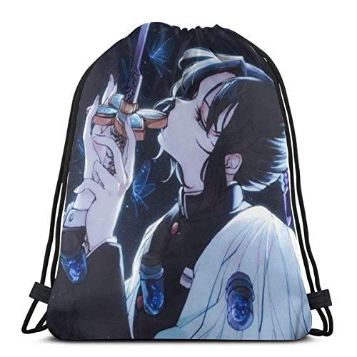 Yuanmeiju Bolsos con cordón Sport Gym Backpack Storage Kimetsu No Yaiba Shinobu Kocho