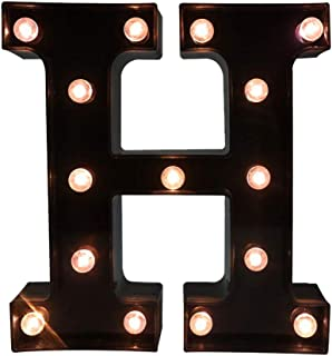 Glintee LED Marquee Letter Lights Black Alphabet Light Up Sign for Wedding Home Party Bar Decoration Battery Powered Letter Decor-H