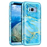 Casetego for Galaxy S8 Plus Case,S8+ Case,Heavy Duty Shockproof 3 Layer Hard PC+Soft Silicone Bumper Rugged Anti-Slip Protective Cases for Samsung Galaxy S8 Plus,Blue Marble