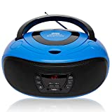 Grouptronics GTCD-501 Blue Portable Stereo CD Player BoomBox And Portable Radio - With USB Port, MP3 Player &...