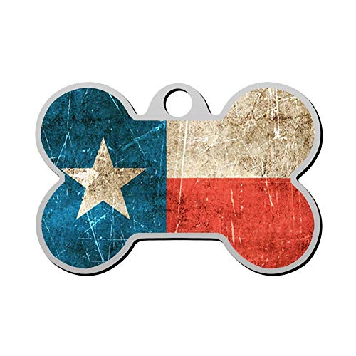 GPZHM Vintage Aged and Scratched Texas Flag Pet ID Tags Personalized Custom Print Bone Shape Dog Tags & Cat Tags