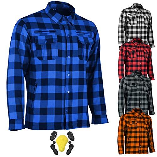 RXL Camisas de motocicleta para hombre, tela de franela blindada CE, para motociclistas, camisa para hombre, con armaduras extraíbles
