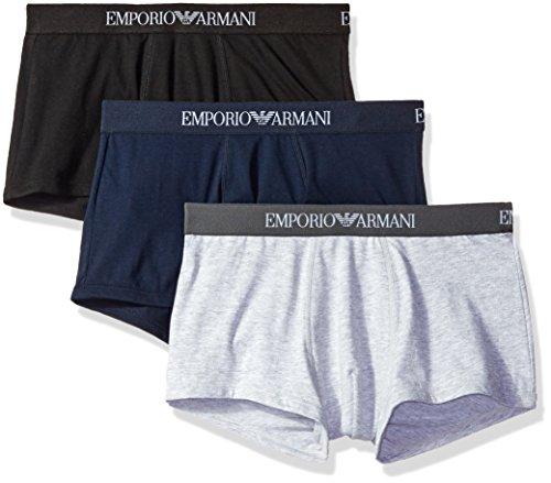 Emporio Armani Men's 3-Pack Cotton Trunks, Grey/Navy/Black, Large