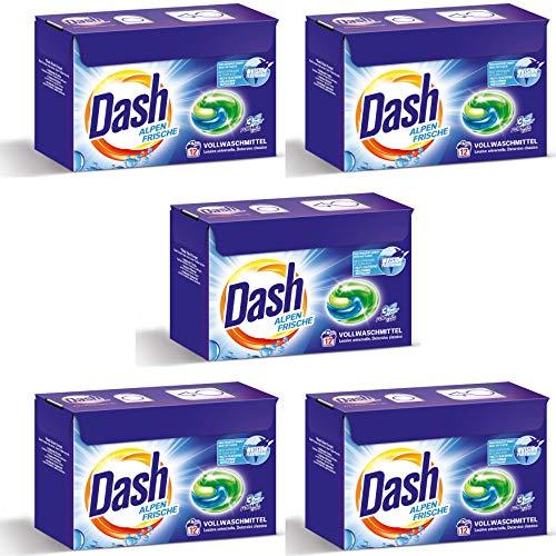 Dash® Alpen Frische 3 in 1 Caps VORTEILSGRÖßE I 60 Waschladungen (5 x 12) I Vollwaschmittel-Caps für weiße Wäsche I 3 in 1 Formel für Frische, Reinheit und Sauberkeit | 5 x 318 g