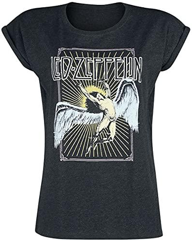 Led Zeppelin Icarus Colour Mujer Camiseta Gris Marengo M, 60% algodón, 40% poliéster, Ancho