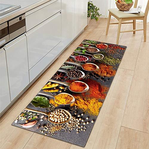 Küchenläufer Waschbar rutschfest Küchenmatte, 3D-Simulation Küchenfarbsuppe Löffel Küchenmatte für Küche und Bar Teppich Läufer waschbare Küchenläufer Küche Deko, 60x180cm