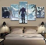 5 Piezas De Arte De Pared Witcher 3 Caza Salvaje Fotos Foto Cuadros En Lienzo Lonas Imprimir Modern Giclee Artwork,B,30 * 50 * 2+30 * 70 * 2+30 * 80 * 1