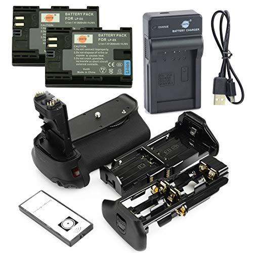 DSTE IR Remote BG-E9H Vertical Impugnatura Batteria + 2x LP-E6 Batteria + USB Caricabatteria Compatibile per Canon EOS 60D 60Da