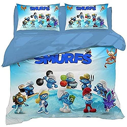 MYLZZ Juego de ropa de cama de microfibra de Animations The Smurfs, 1 funda nórdica y 2 fundas de almohada, dibujos animados en 3D, con cremallera (estilo 07,220 x 260 cm/50 x 75 cm)