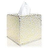 Fanuk Soporte para caja de pañuelos, cuadrado de piel sintética, cubierta para baño, encimeras de tocador, hogar, oficina, coche, (dorado)