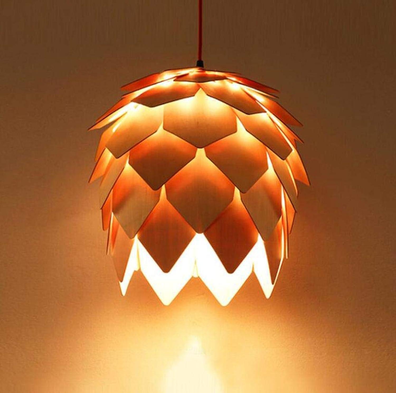 Loft Holz Kreative einfache Pendelleuchte Modern Fashion Lampen für Esszimmer Restaurant Schlafzimmer Wohnzimmer-Form-LED, warmes Wei, Durchmesser 25cm