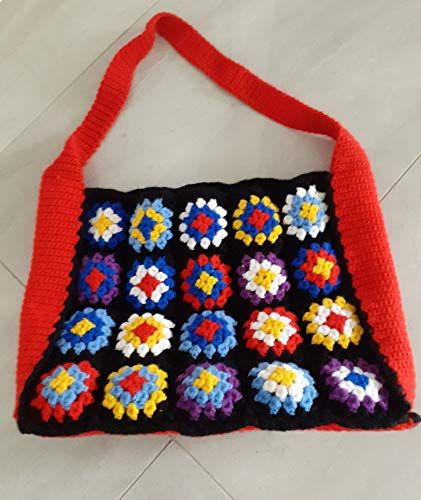 Patchwork Tasche, Bag, Umhängetasche, Shopper, gehäkelt, Granny Square, Handarbeit, Vintage Look