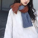 mlpnko Bufanda de Lana Salvaje Tejida con Costuras de Doble Color Harajuku...