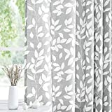 Treatmentex White and Grey Curtains for Bedroom 84' Length Semi-Sheer Print Leaf Curtains for Living Room Windows, Grommet Top, 2 Pack