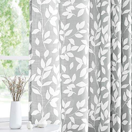"""Treatmentex White and Grey Curtains for Bedroom 84"""" Length Semi-Sheer Print Leaf Curtains for Living Room Windows, Grommet Top, 2 Pack"""