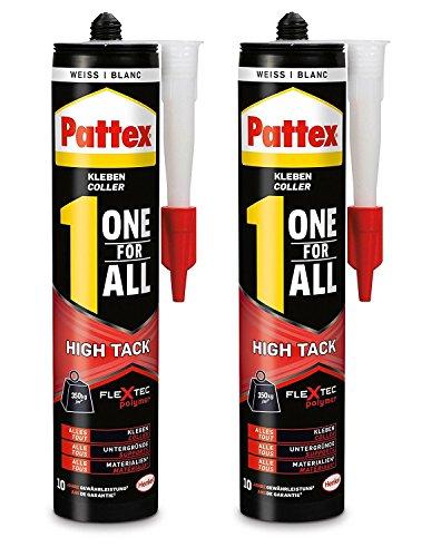 Pattex One for All High Tack Kleber weiß/Extra stark haftender Alleskleber ohne Lösungsmittel - für schwere Anwendungen/2 x 460g