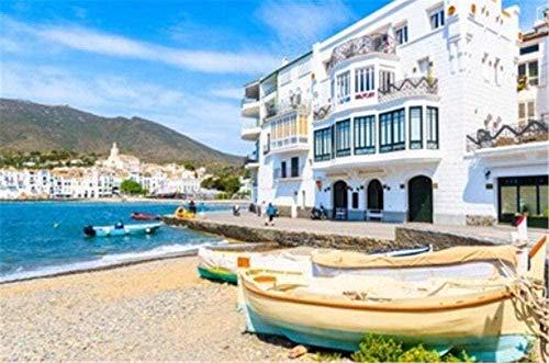 Puzzle de 1000 piezas de rompecabezas de madera Playa de barco de pesca en Cadaqués pueblo blanco Costa Brava España rompecabezas decorativo-rompecabezas para adultos-regalo rompecabezas educativ